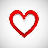 Three-dementional banerhjärta på vit bakgrund Fotografering för Bildbyråer