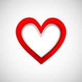 Three-dementional banner heart on white background Stock Image