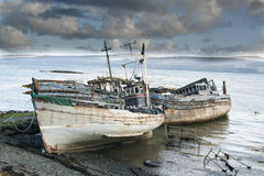 Three derelict fishing trawlers Royalty Free Stock Images
