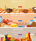 Three design banners set with cereals food, natural food products, fast food. royalty free illustration