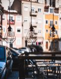 Three designer lamps, veiw from cafe royalty free stock image
