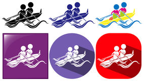 Three designs of kayaking icon Royalty Free Stock Image