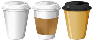 Three designs of paper cups Royalty Free Stock Image