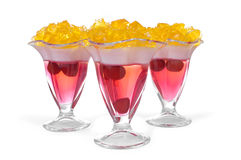 Three dessert jelly on white background Stock Photos