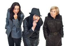 Three detectives women Royalty Free Stock Photography