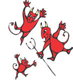 Three Devils. Three smiling devils with horns and pitchforks Stock Images
