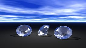 Three diamonds. With skies and black color Stock Photo