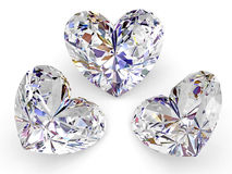Three diamonds in the shape of heart on white Royalty Free Stock Photos