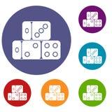 Three dice cubes icons set Stock Image