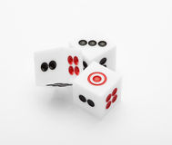 Three dice on table for game set Stock Images