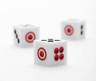 Three dice on table for game set Stock Photography