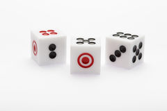 Three dice on table for game set Stock Photo