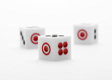 Three dice on table for game set Stock Photos