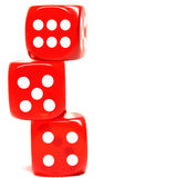 Three dices. Three red-playing dice isolate Royalty Free Stock Photography