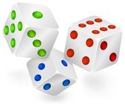 Three dices for dribbling Royalty Free Stock Images
