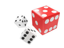 Three dices on white. Background Royalty Free Stock Photo
