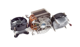 Three different active CPU heatsinks with fans Stock Images