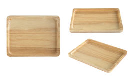 Three different angle view of wooden tray isolated on white Royalty Free Stock Image
