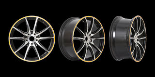 Three different angles rims Royalty Free Stock Image