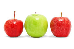 Three different apples. Royalty Free Stock Photo