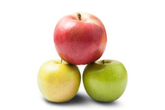 Three different apples Stock Photo
