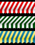 Three Different Awnings. Three Different Colorful Awnings to add to your designs Royalty Free Stock Image