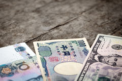Three different bank notes Stock Image