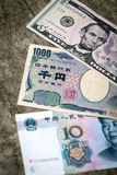 Three different bank notes Royalty Free Stock Image