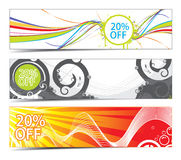 Three different banners. Three banners on different themes, multi-colored Royalty Free Stock Photography