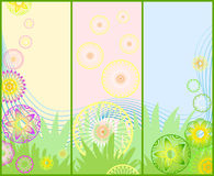 Three different beautiful spring floral banners Royalty Free Stock Images