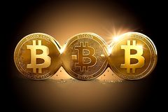 Three different Bitcoins as a result of Hard Forks. Bitcoin splitting into different currencies. Concept. 3D illustration Stock Photography