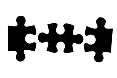 Three different black puzzle pieces Royalty Free Stock Photos