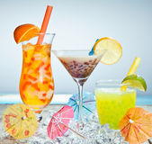 Three different boba tea cocktails stock photo