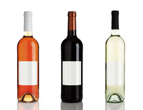 Three different bottles of wine with blank labels Stock Photo
