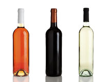 Three different bottles of wine without labels Royalty Free Stock Images