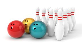 Three different bowling ball and pins. 3d illustration. Three different bowling ball and pins.  on white, 3d illustration Royalty Free Stock Images