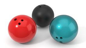 Three different bowling balls. 3d illustration. Three different bowling balls.  on white, 3d illustration Royalty Free Stock Photography