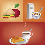 Three different breakfast Stock Photography