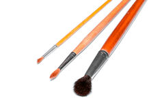 Three different brushes for watercolor painting on white background Stock Images