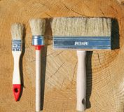 Three different brushes Royalty Free Stock Image