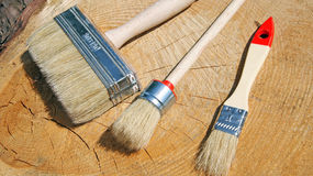 Three different brushes Royalty Free Stock Photos