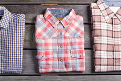 Three different checked shirts. Royalty Free Stock Photos