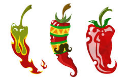 Three different chili peppers Royalty Free Stock Photo