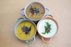 Chutney. Three different Chutney and soup varieties - coconut and pepper chutney and lentil soup Royalty Free Stock Image