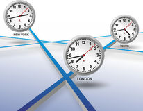 Three different clocks Royalty Free Stock Photo