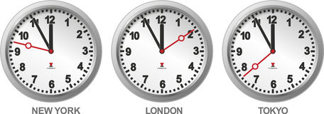 Three different clocks Royalty Free Stock Image