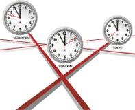 Three different clocks Royalty Free Stock Photos