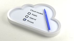 Three different cloud checklist and private crossed off Stock Photos