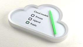 Three different cloud checklist and public crossed off Stock Images