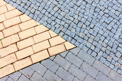 Three different cobble stone textures Stock Photography